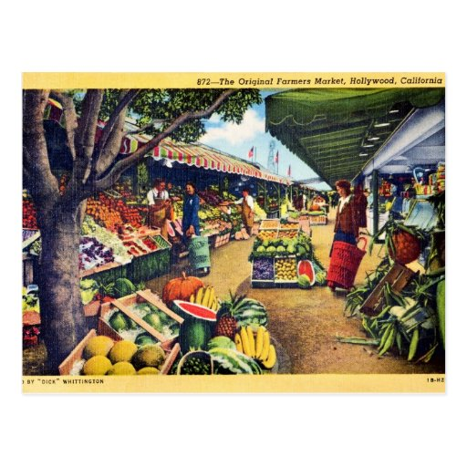 Original Farmer's Market, Hollywood, California Post Card