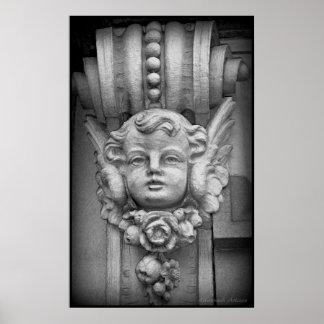 Original Fine Art Print Gothic Cherub Carving