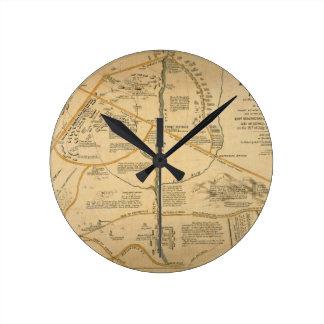 ORIGINAL First Battle of Bull Run Civil War Map Round Wall Clock