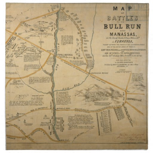 original first battle of bull run civil war map napkin
