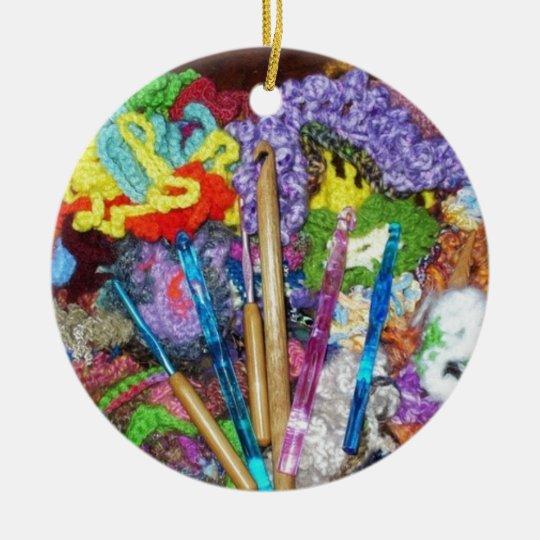 Original Free Form Crochet & Hooks Photo Design Ceramic Ornament
