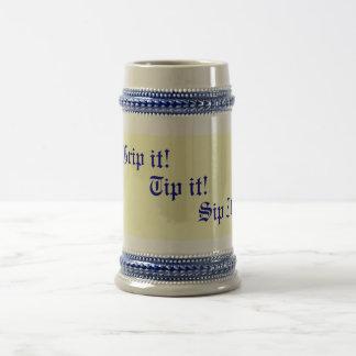 original fun drinking slogan text beer stein
