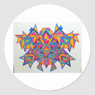 Original geometric art on all your favorite things classic round sticker