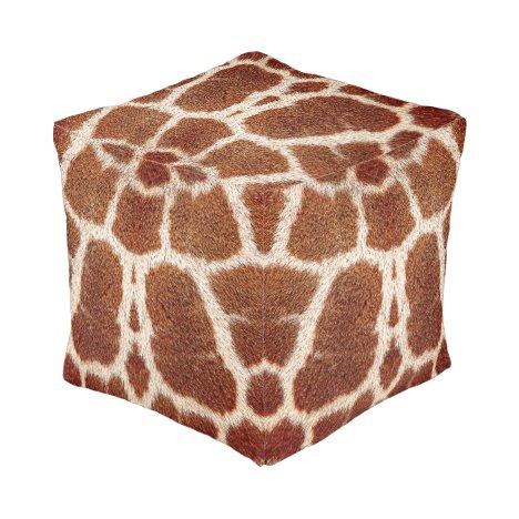 Original giraffe fur pouf
