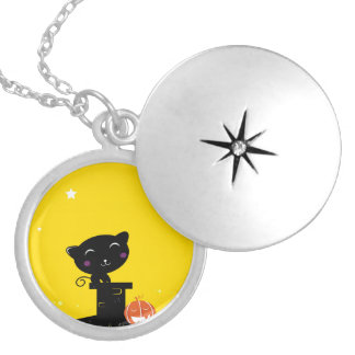Original girly jevelry : with black cat silver plated necklace