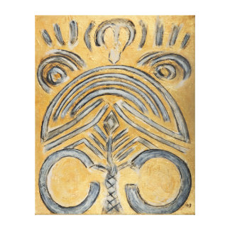 Original Gold Ethnic Abstract Painting Canvas Print