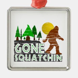 Original Gone Squatchin Design Square Metal Christmas Ornament