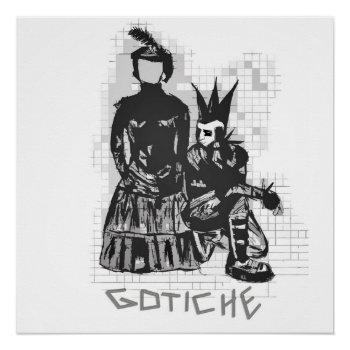 Original Gothic Punk Rock Hand Drawn Poster by RainbowChild_Art at Zazzle