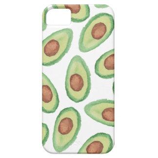 Original green brown watercolor avocado pattern iPhone SE/5/5s case