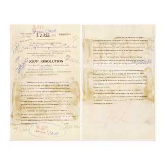 ORIGINAL Gulf of Tonkin Resolution Document Canvas Print
