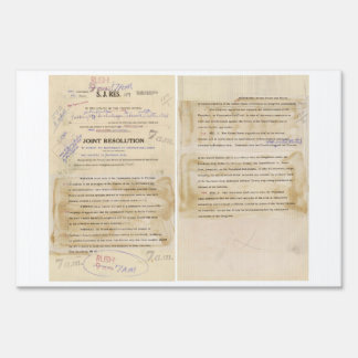 ORIGINAL Gulf of Tonkin Resolution Document Yard Sign