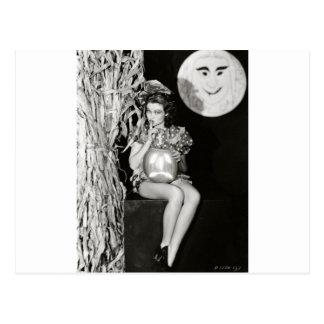 Original halloween vintage witch photo postcard