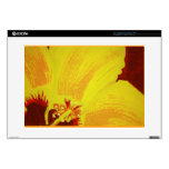 """Original Hand Painted Yellow Hibiscus Decals For 15"""" Laptops"""