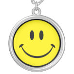 Original Happy Smiley Face Round Pendant Necklace