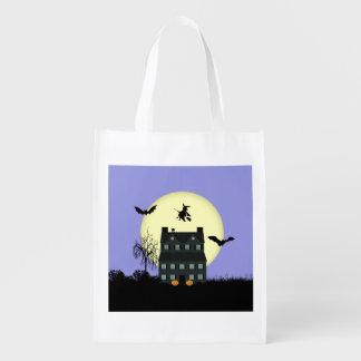 Original Haunted House Halloween Grocery Sack Market Totes