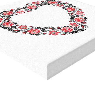 Original Heart of cross-stitch red rose flowers Canvas Print