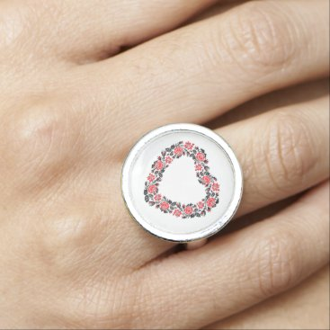 Wedding Themed Original Heart of cross-stitch red rose flowers Photo Ring