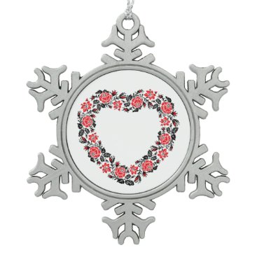 Wedding Themed Original Heart of cross-stitch red rose flowers Snowflake Pewter Christmas Ornament