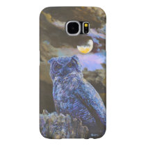 Original Horned Owl at Night Painting Galaxy S6 Samsung Galaxy S6 Case
