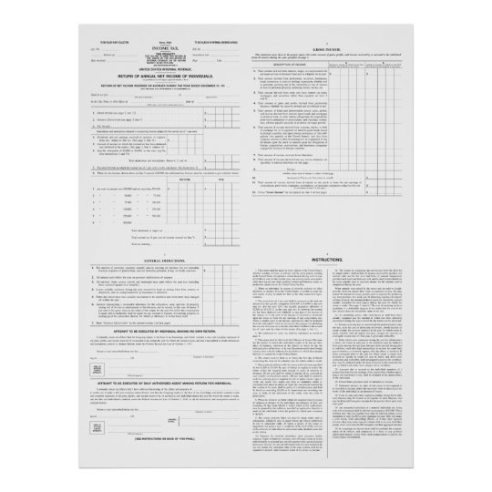 Original Income Tax Form 1040 From 1913 4 Pages Poster Zazzle