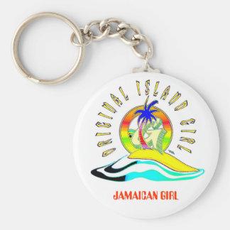ORIGINAL ISLAND GIRLZ, JAMAICAN GIRL BASIC ROUND BUTTON KEYCHAIN