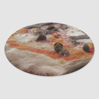 Original italian pizza with capers and anchovies oval sticker