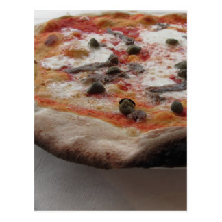 Original italian pizza with capers and anchovies postcard
