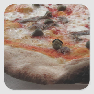 Original italian pizza with capers and anchovies square sticker