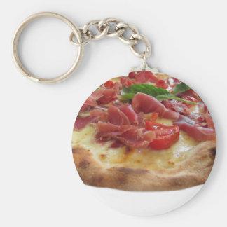 Original italian pizza with ham, tomatoes and basi keychain