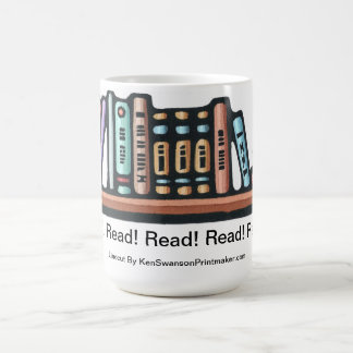 Original Linocut of Shelf of Books By Ken Swanson Coffee Mug