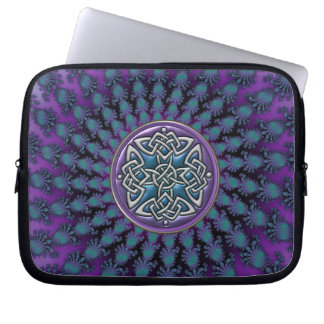Original Metallic Celtic Knot Fractal Design Laptop Computer Sleeves
