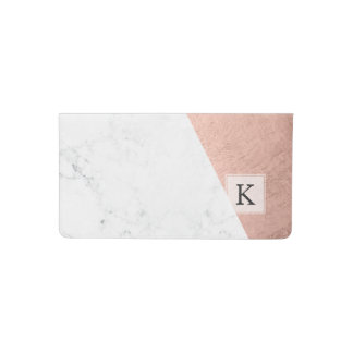 Original modern rose gold white marble color block checkbook cover