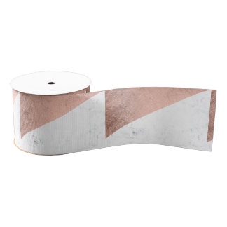 Original modern rose gold white marble color block grosgrain ribbon