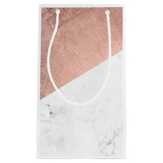 Original modern rose gold white marble color block small gift bag