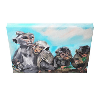 "Original Oil Painting "" The monkey family"" Canvas Print"