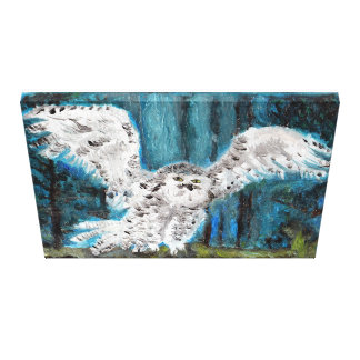 Original Oil Painting White owl Canvas Print