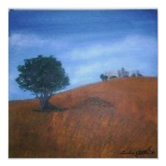 Original Oil, Picture, Lonely tree, Linda Gilbert Poster