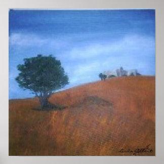 Original Oil, Picture, Lonely tree, Linda Gilbert Poster