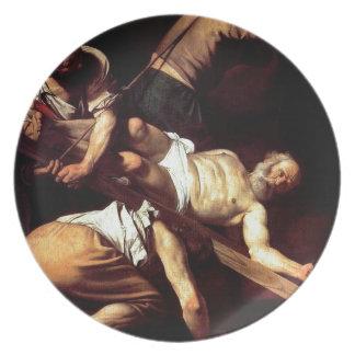 """Original paint """"La crocifissione di s Pietro"""" Dinner Plate"""