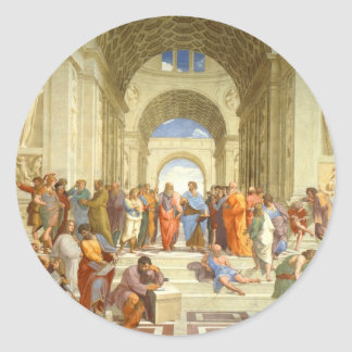 "Original paint ""The school of Athens"" by Raffaello Classic Round Sticker"