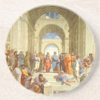 "Original paint ""The school of Athens"" by Raffaello Drink Coaster"