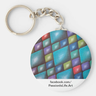 Original Painting: Harmony In Blue Basic Round Button Keychain