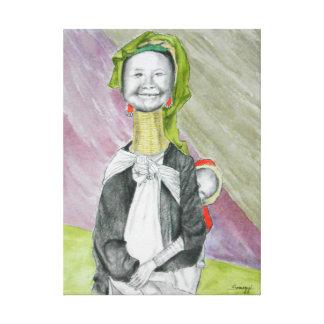 Original Painting on Canvas, Burmese Lady w/Child Canvas Print