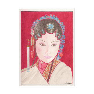 Original Painting on Canvas, Chinese Opera Dancer Canvas Print