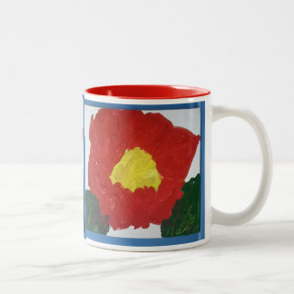 Original Painting Red Flower Mug Autism