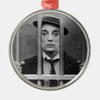 Original photo of a famous actor 1900s metal ornament