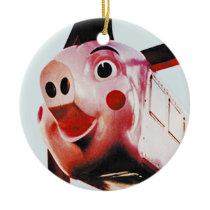 Original Pink Pig, Rich's, Atlanta Christmas Orn Ceramic Ornament