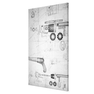 Original plans for a ten-chamber revolver which la canvas print
