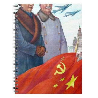 Original propaganda Mao tse tung and Joseph Stalin Notebook