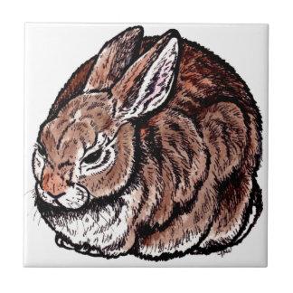 Original Rabbit Art, Pen & Ink, Watercolor Drawing Ceramic Tile